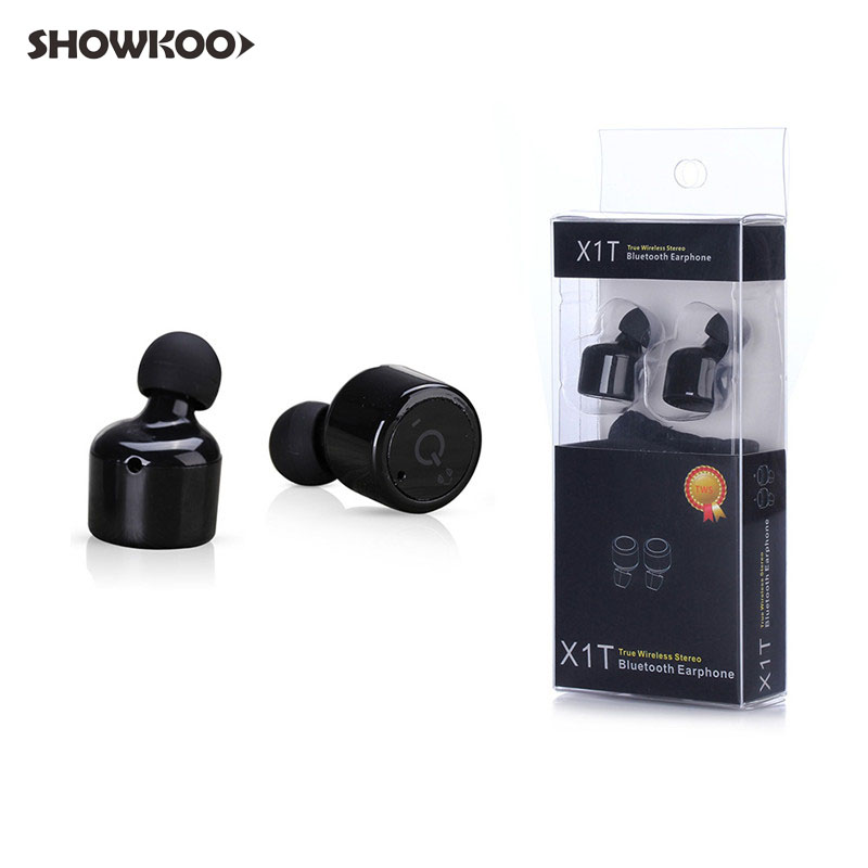 Showkoo Escutador Mini Twins Wireless Bluetooth Earphone with Microphone Earpieces Earbuds in-ear Stereo Headset Ecouteur Casco new guitar shape r9030 bluetooth stereo earphone in ear long standby headset headphone with microphone earbuds for smartphones