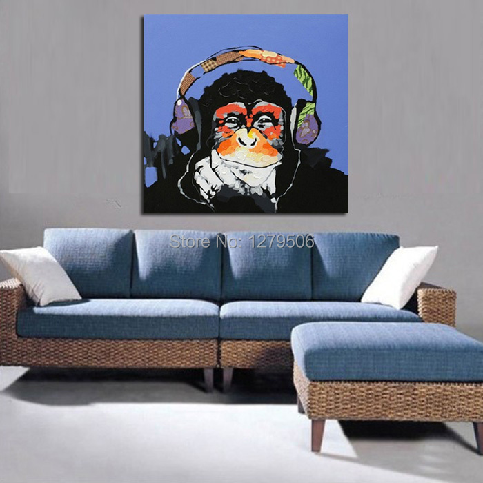 Handmade Abstract Cute Gorilla Art Oil Painting
