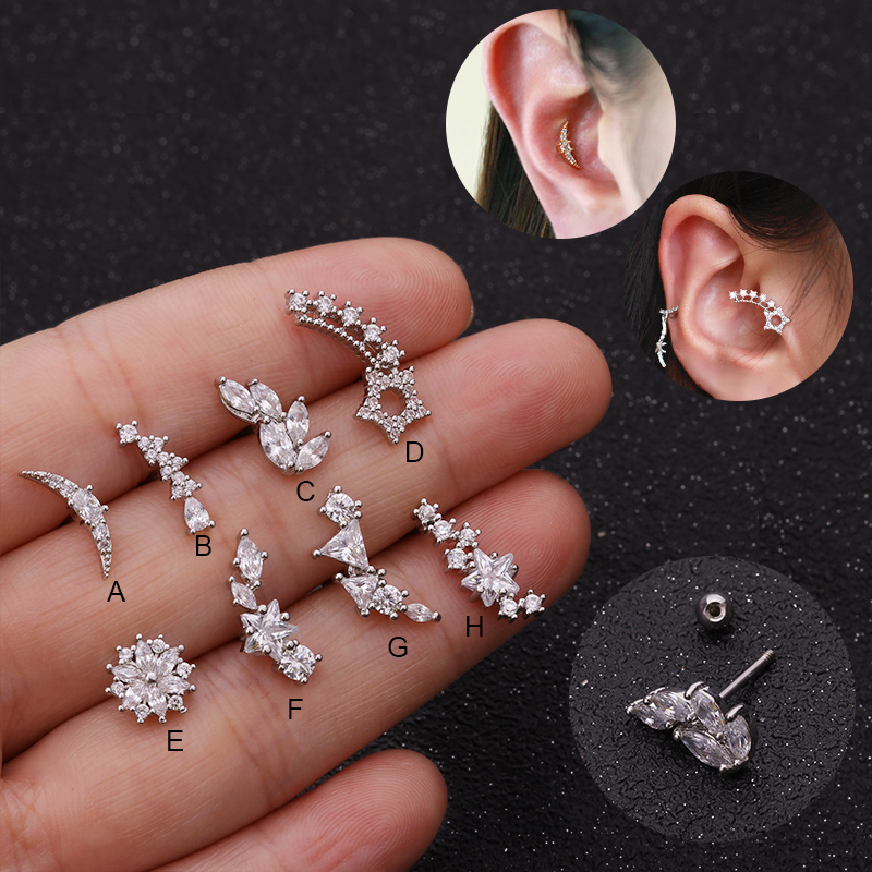 5ab95cd99 Feelgood New Arrival 20g Stainless Steel Bar And Curved Cz Tragus Stud Cartilage  Helix Earring Conch