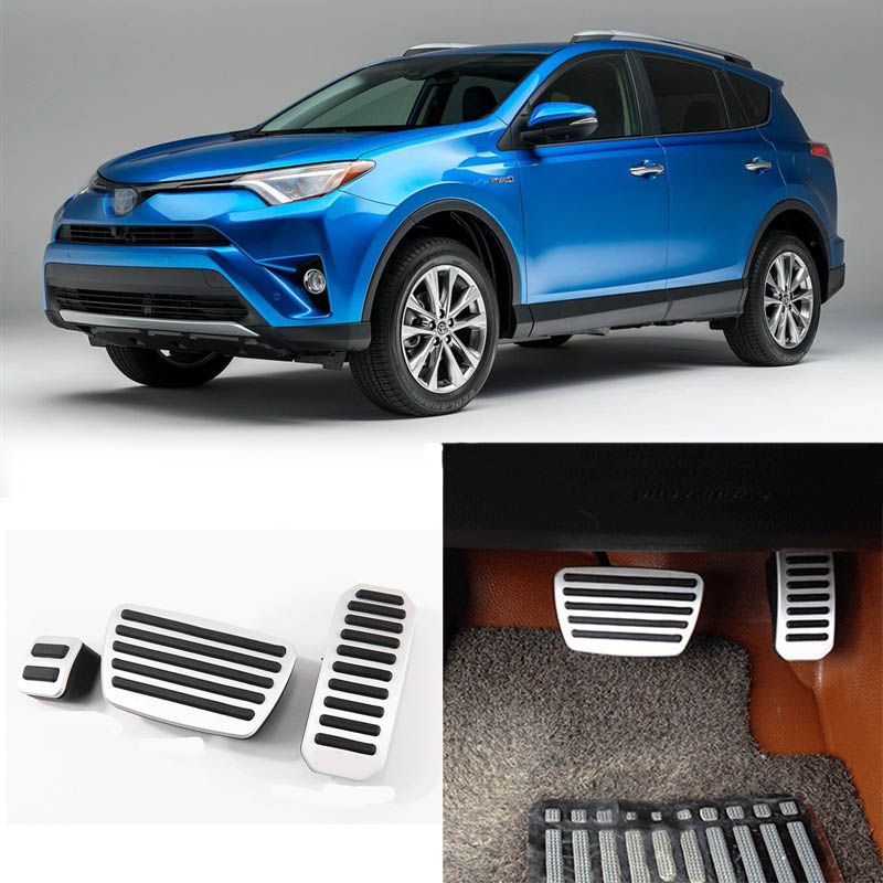 Brand New 3pcs Aluminium Non Slip Foot Rest Fuel Gas Brake Pedal Cover For Toyota RAV4 AT 2015-2016 brand new 3pcs aluminium non slip foot rest fuel gas brake pedal cover for mazda 3 at 2011 2015