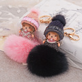 Cute Inlay Crystal Rhinestone Monchichi Doll Keychain Fluffy Rabbit Fur Ball keychain Fur Pom Pom Key Chain For Women Bag Charm