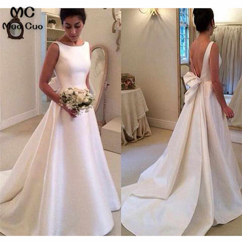 Elegant A-Line 2018 Wedding Dress Bridal Dresses Backless Bow Sleeveless  Sweep Train Satin White 18270787218a