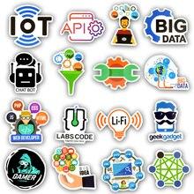 50 PCS Programming Sticker Technology Software Programs Data Creative Stickers for Geek DIY Computer Laptop Phone PS4 Notebook