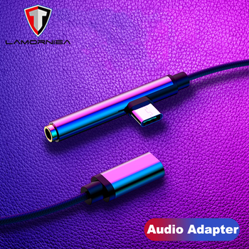 Lamorniea 2 in 1 Audio Adapter Charging Connector For Samsung XiaoMi Huawei Oneplus Charger Jack Splitter Headphone USB Adapter