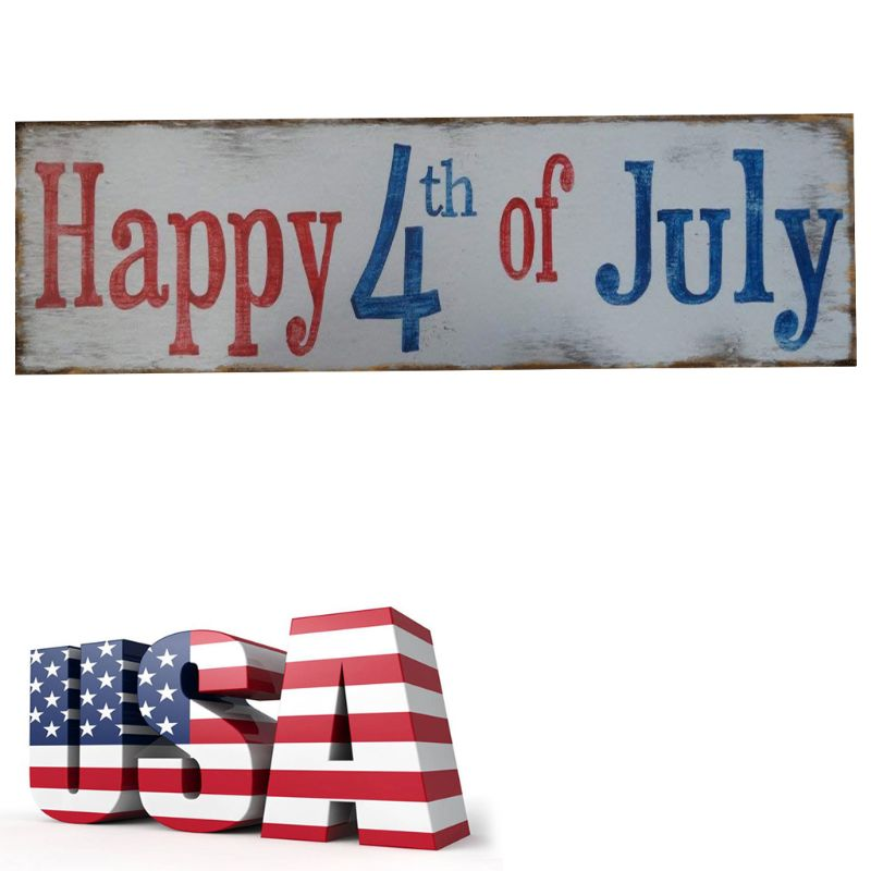 Rustic Wooden Happy 4th Of July Sign Plaque Independence Day Collection Gift Home Decoration-in Plaques & Signs from Home & Garden