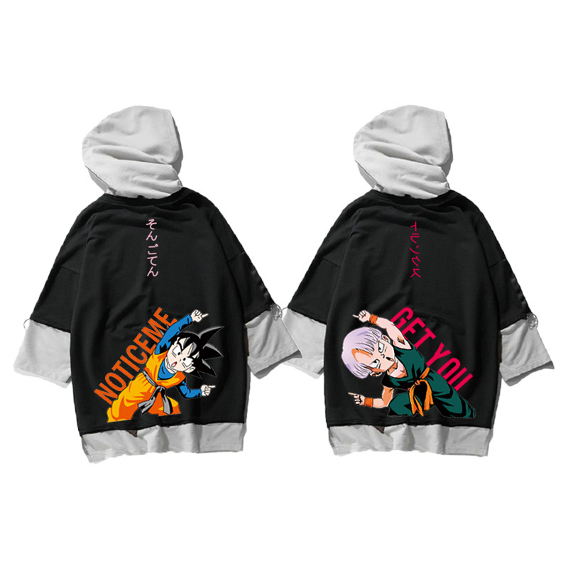 Autumn 2018 Dragon Ball Goten Trunks Cartoon Print Wear Couple Hip Hop Tops Hoodies Sweatshirts High Street Oversize Pullovers