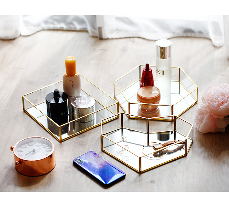 Glass Golden Edge Makeup Organizer Jewelry Box Cosmetic Organizer Makeup Box Lipstick Makeup Storage Bathroom Table Organizer