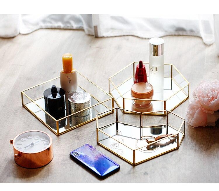 Organizador de maquillaje con bordes dorados de cristal, joyero, organizador de cosméticos, caja de maquillaje, lápiz labial, almacenamiento de maquillaje, organizador de mesa para Baño Caja de luz nocturna con combinación de luces LED de tamaño A6, caja de luz de cine con pilas AA para tarjetas de letras negras DIY