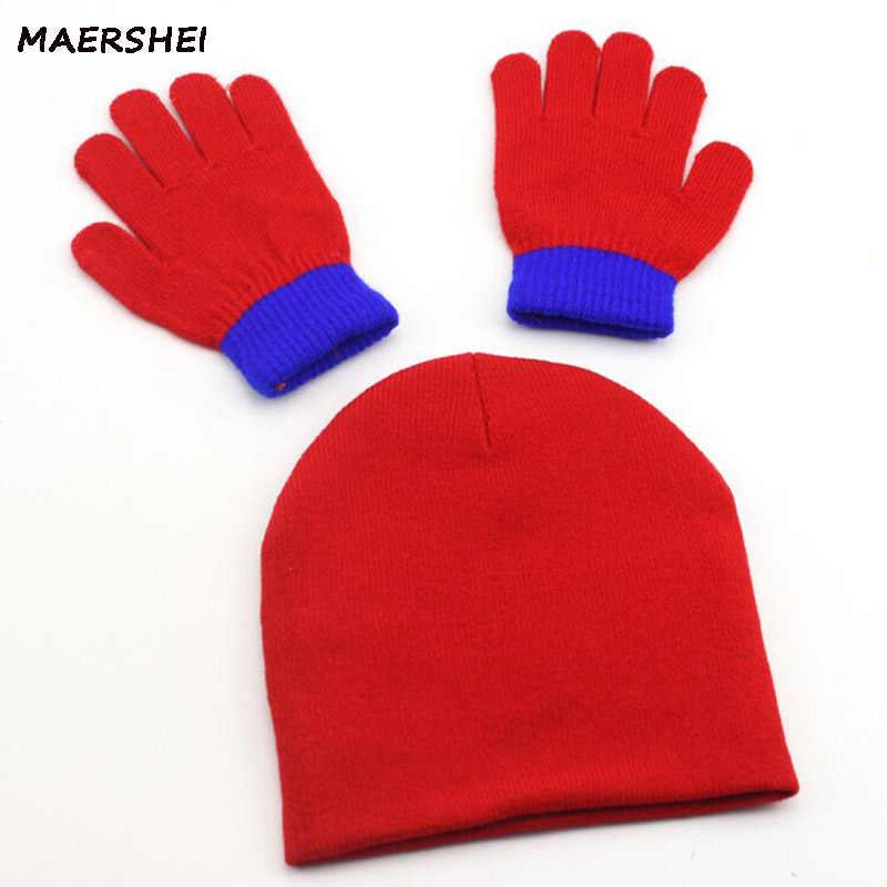 dba90f39eb8 ... MAERSHEI autumn and winter children s knit hat boys and girls spiderman  cartoon warm caps Gloves kids ...