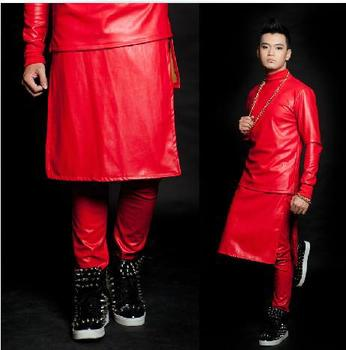 Red singer faux leather skirts pants for the mens PU leather skirt pants men stage star performers personalized customizable