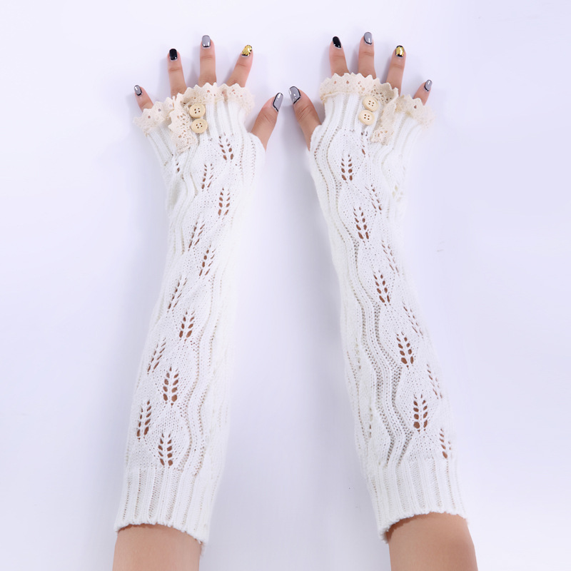 New Women Lace Winter Long Arm Warmers Sleeves Gloves For Woman Girls Solid Color Fingerless Gloves
