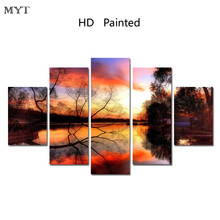 HD Printed Modular 5P sunset on the sea poster Wall art pictures oil Painting Impression for Living Room Home Decor no framed(China)