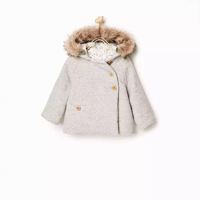 European Baby Girl's Winter Fur Collar Hooded Woolen Coat Female Kid's Cotton Padded Double Breasted Jacket