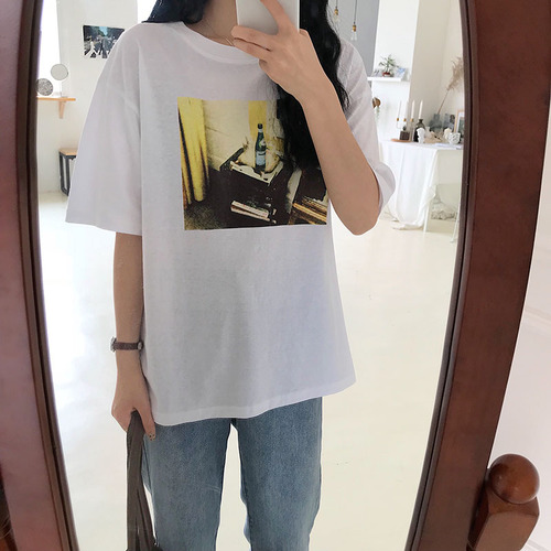 Simple Photo Printed All Match White College Wind Vintage Cotton 2018 New Arrival Short Sleeve Female T-shirts ...