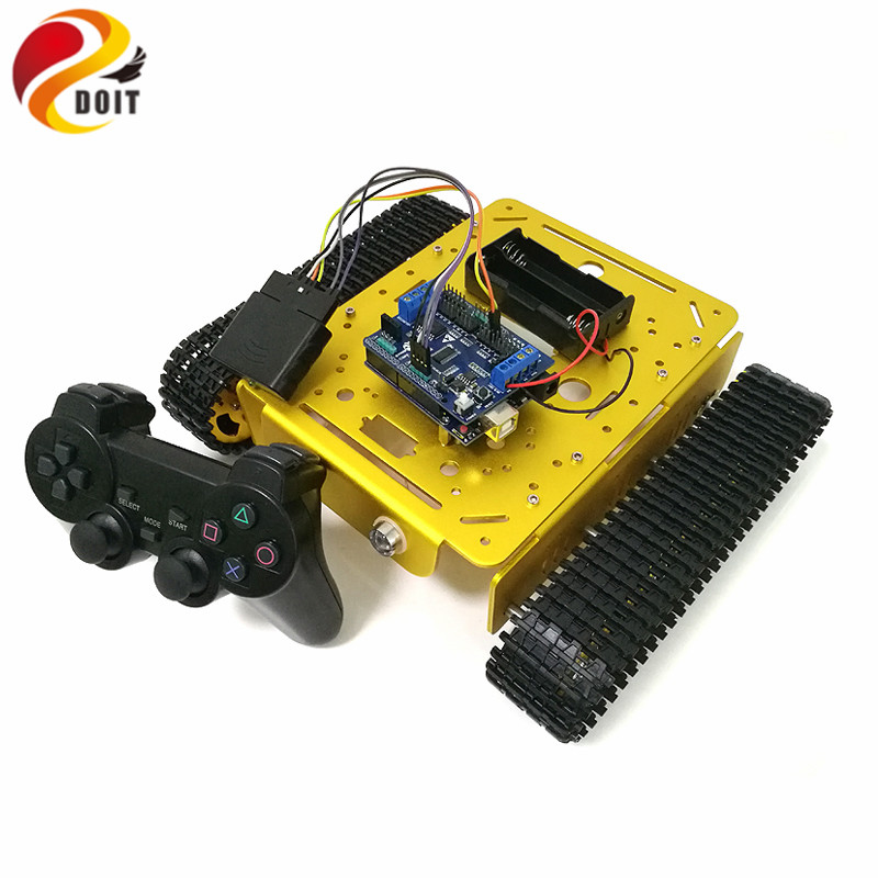 DOIT Wireless Handle Control Smart Robot Tank Car Chassis with UNO R3 Board+Motor Drive Shield Board for DIY Competition