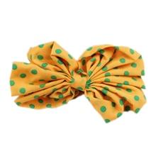 Lovely Lady Bow Headband Ponytail Holder Hair Tie Band (Turmeric + Green Point)