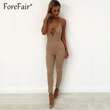 00dca80b02 Forefair Fashion Suede Leather Jumpsuit Rompers Womens Sexy V Neck Lace-up  Spaghetti Strap Jumpsuits Slim Long Pant Overalls