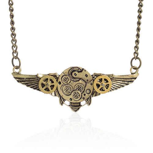 Стимпанк античный угол крылья подвеска шестеренка Длинная цепочка ожерелье Новое поступление