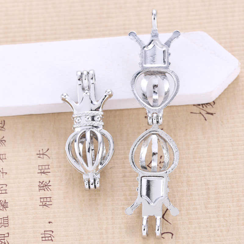 6pcs Silver Palted Crown Pearl Cage Jewelry Making Bead Cage Pendant Essential Oil Diffuser Locket For Oyster Pearl Fun Gift