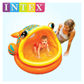 intex inflatable baby kid child swimming pool water play game fun pool soft inflatable bottom big fish frog with sunshade 57109