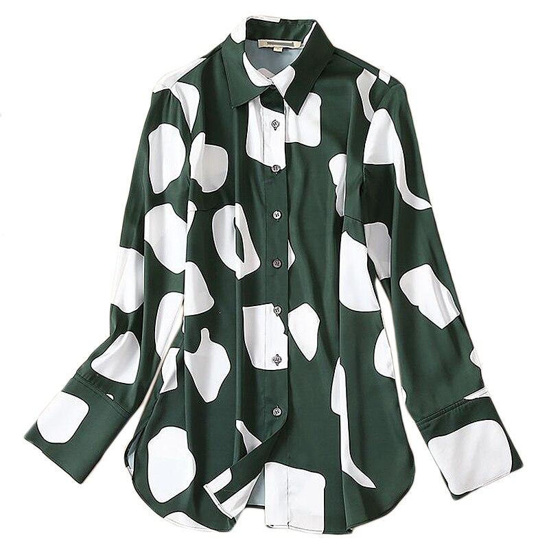 XF haute qualité artiste coréen rétro vert couture blanc imprimé dames petit haut 2019 automne femmes mode fête chemise de fond