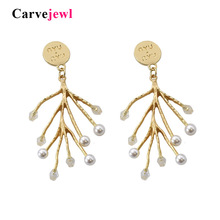 Carvejewl Timeless Wonder glam faux pearl branch tree dangle Earrings for women jewelry new golden gown Party Gift drop earrings