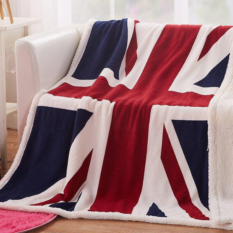 Double Layer Thick British Flag Blanket US UK London American Flag Printed Blanket New York Warm Plush Throw Blankets 130x160cm
