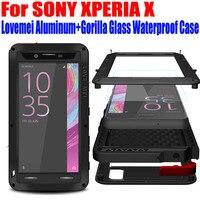 עבור SONY XPERIA X ביצועי XA XZ Lovemei מקורי מקרה אלומיניום + טיפת זכוכית גורילה הוכחת מים כיסוי למקרה XPERIA X SX1