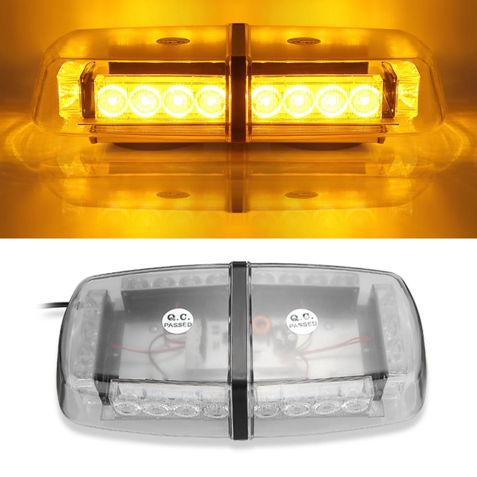 Qook Strobe Emergency Warning Car Roof Top Light 24 LED Amber with Magnetic Base