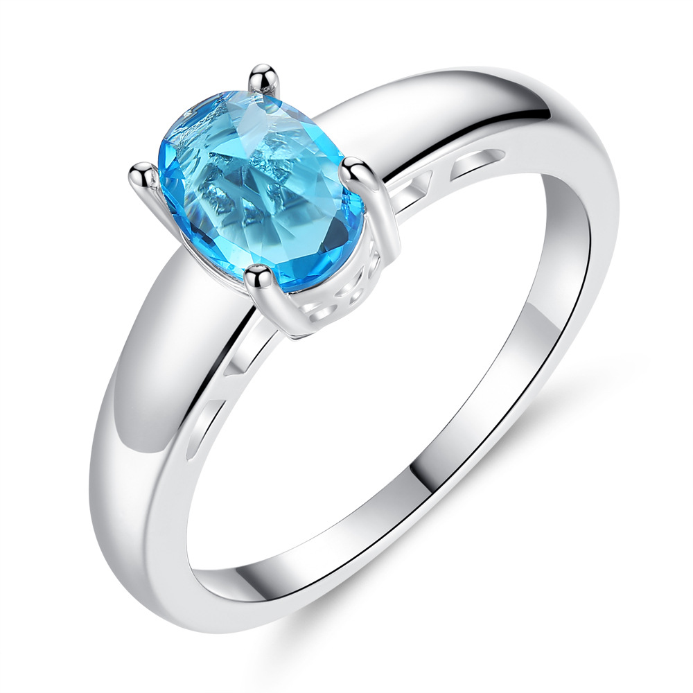 Engagement Oval Ring Set with Blue Stone Finger Ring for Women Party Wedding Gift for Girl Famale