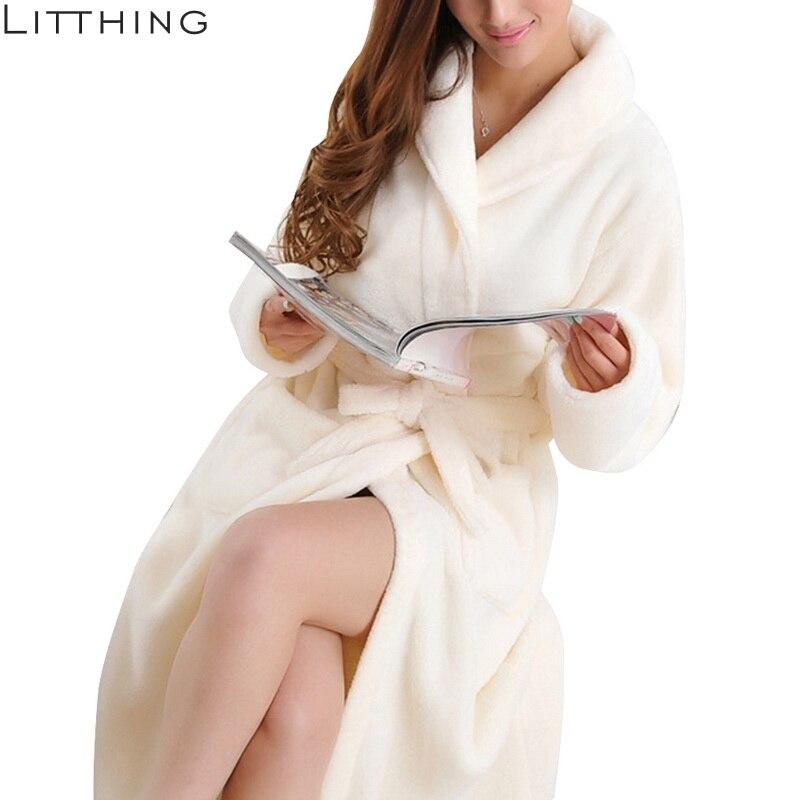 LITTHING Lovers Dress Men Women's Warm Super Soft Flannel Coral Fleece Long Bath Robe Men Kimono Bathrobe Dressing Gown Robes-in Robes from Underwear & Sleepwears on AliExpress