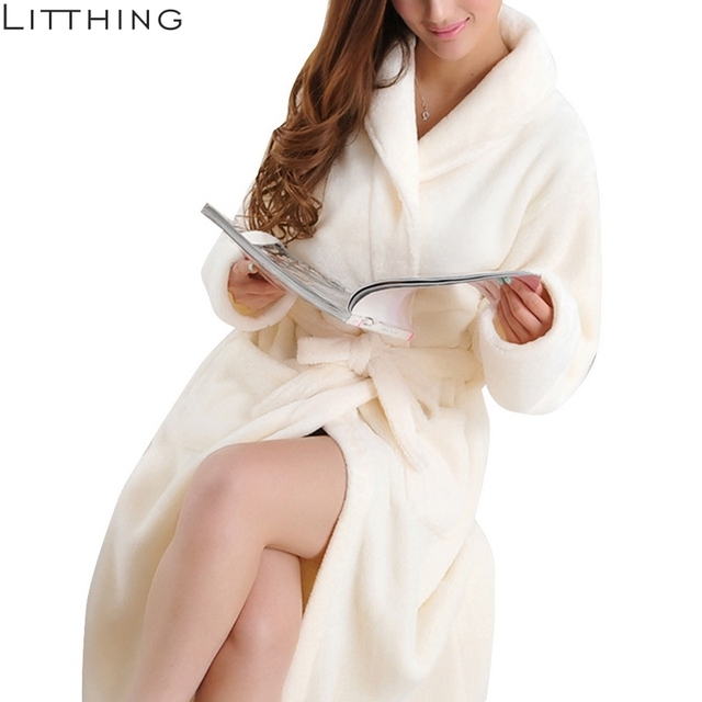 LITTHING Lovers Dress hombre mujer cálido Super suave franela Coral polar largo bata baño hombre Kimono Albornoz bata Batas