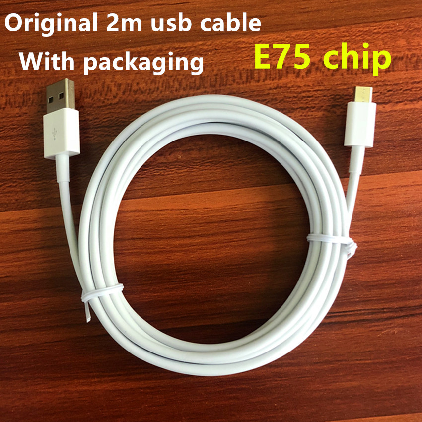 100pcs lot 2m 6ft E75 Chip OD 3 0mm Data USB charger Cable With packaging DHL