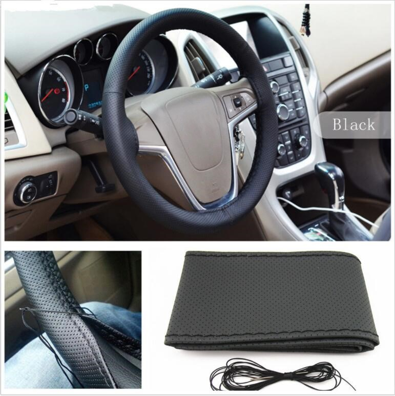 110*50*40mm PU Leather Car Auto Steering Wheel Cover With Needles And Thread Breathability Skid-Proof Vehicle Cover