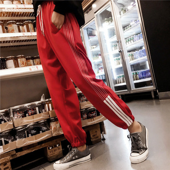 Side Striped Elastic Waist Pockets Fashion Casual Trouser
