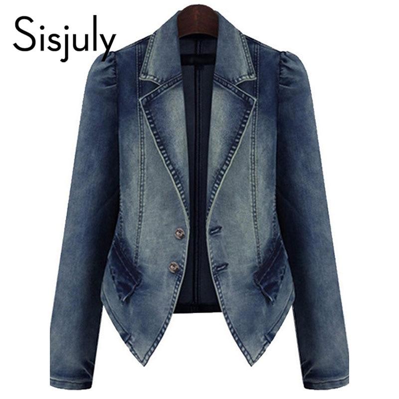 Sisjuly women jacket denim autumn blue basic coats casual slim long sleeve plus fashion 2018 short chic jeans jacket for girl