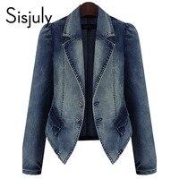 Sisjuly women jacket denim autumn blue basic coats casual slim long sleeve plus fashion 2019 short chic jeans jacket for girl