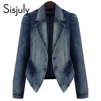 Sisjuly women jacket denim autumn blue basic coats casual slim long sleeve plus fashion 2019 short chic jeans jacket for girl