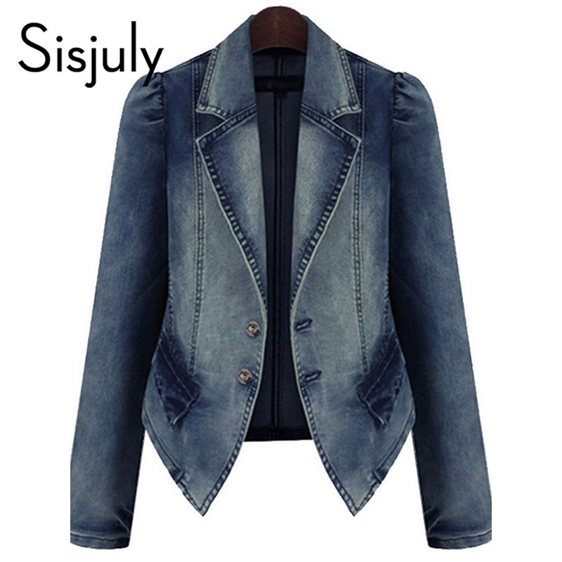 Sisjuly women jacket denim autumn blue basic coats casual slim long sleeve plus fashion 2018 short chic jeans jacket for girl