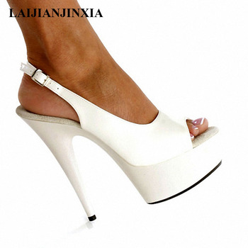 LAIJIANJINXIA New Pumps 15cm Sexy High-Heeled Shoes Formal Dress Shoes Open Toe Sandals Sling Peep-Toe Platform Fashion Sandals