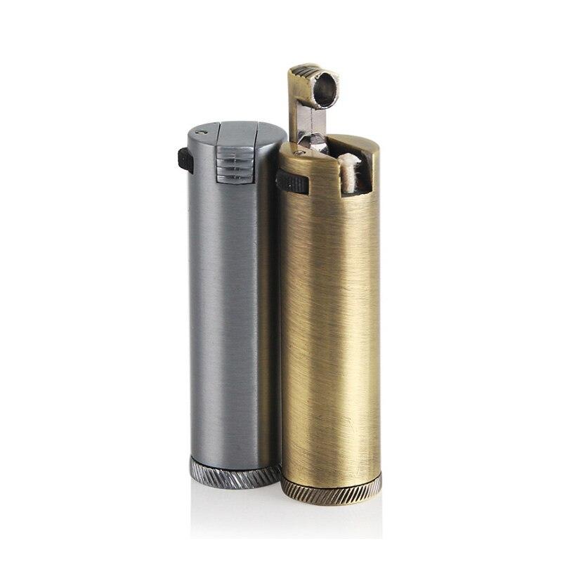 Retro Mini Metall Feuerzeuge Kerosin Öl Flamme Leichter Einzigartige Zigarette Feuerzeuge Seite slip rad benzin Zigarre Feuer Männer Gadget