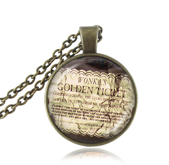 Willy Wonka Ticket and the Chocolate Factory movie pendant Golden Ticket necklace movie jewelry glass picture choker neckless