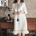 95% Cotton Spring New Pregnant Women Dress Korean Casual Cotton Gauze Embroidery Long Maternity Dress