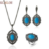 KCALOE Blue/Red/Green Natural Stone Jewlery Sets For Women Silver Plated Vintage Crystal Rhinestone Necklace Earrings Ring Set