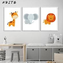 NDITB Woodland Animal Wall Art Canvas Painting Giraffe Lion Poster Nursery Print Decorative Picture Nordic Style Kids Decoration