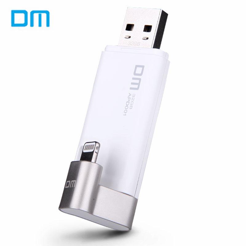 Prix pour Dm apd001 flash drive pour iphone/ipad/ipod 32 gb micro usb 3.0 Élégant USB OTG U Disque Double Interface Pen Drive Noir/Blanc