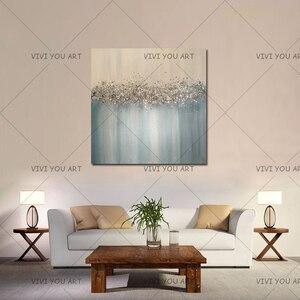 Большая абстрактная картина, Оригинальная текстура, современный Небесный светильник, синий, серебристый и золотой фольги, металлическая бл...