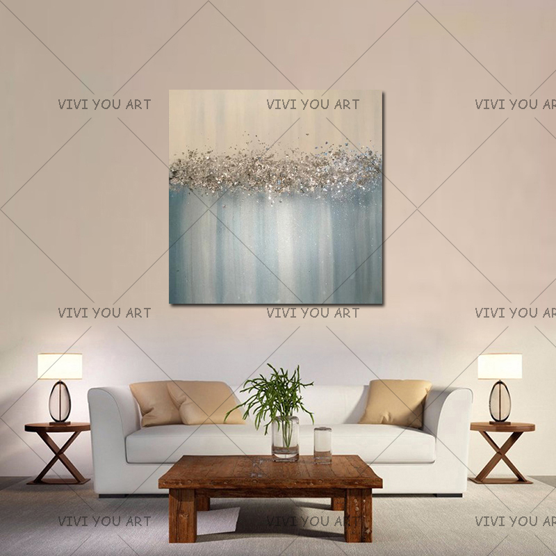 Large Abstract Painting Original Texture Modern Sky Light Blue Silver And Gold Foil Metal Glitter White Painting Hand pained Painting & Calligraphy    - AliExpress