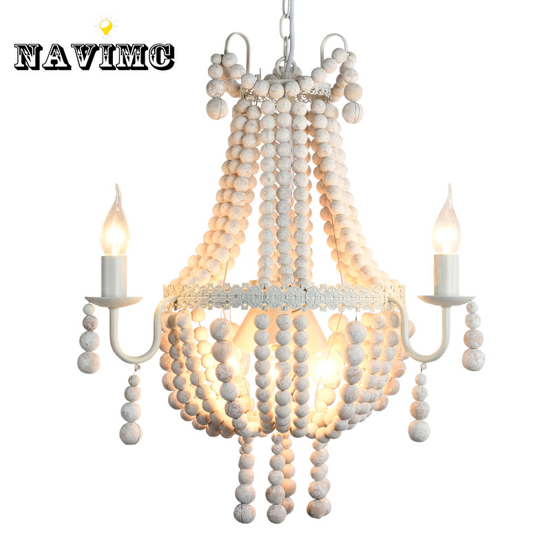 Modern Nordic Antique White Wood Bead Chandeliers Lighitng For Hotel Hall Dining Room Restaurant Pendant Lamp In From Lights Lighting On