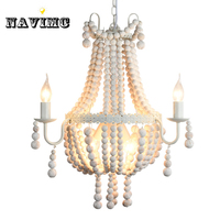 Modern Nordic Antique White Wood Bead Chandeliers Lighitng for Hotel Hall Dining Room Restaurant Pendant Lamp